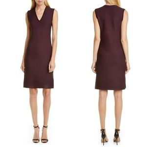 St. John Collection Sculpted Sweater Dress Maroon